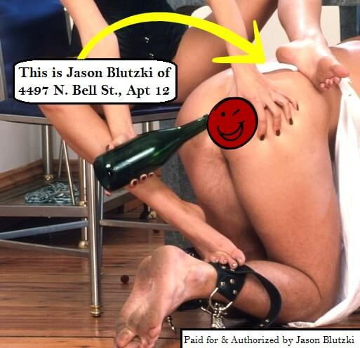 Consensual Blackmail and Erotic Extortion Consequence Example Pic (all rights reserved by the Samantha Summers Institute) - Jason Blutzki is a fictitious name not based on anyone, living or dead